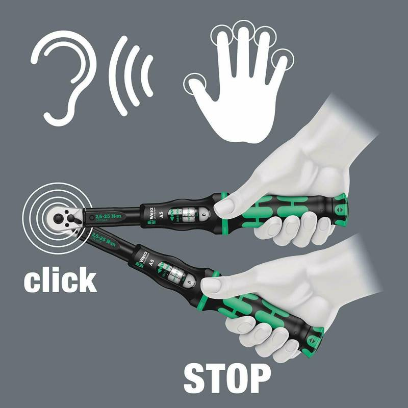"""WERA 3//8/"""" Click-Torque-B-2 Calibrated Adjustable 20Nm To 100Nm Wrench 075611"""