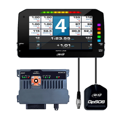 "Dash & Data Loggers - Data Loggers - AiM Sports - AiM PDM 8 with 6"" screen 2m ROOF GPS"